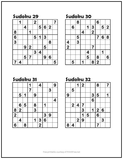 photograph regarding Medium Sudoku Printable known as Sudoku Puzzles #29-32 (Medium) Print it Cost-free