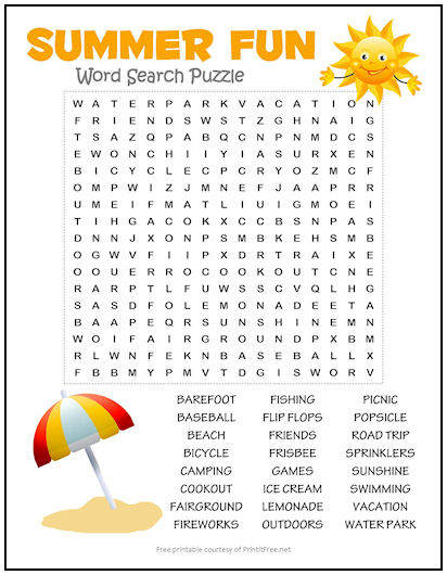 Summer Fun Word Search Puzzle